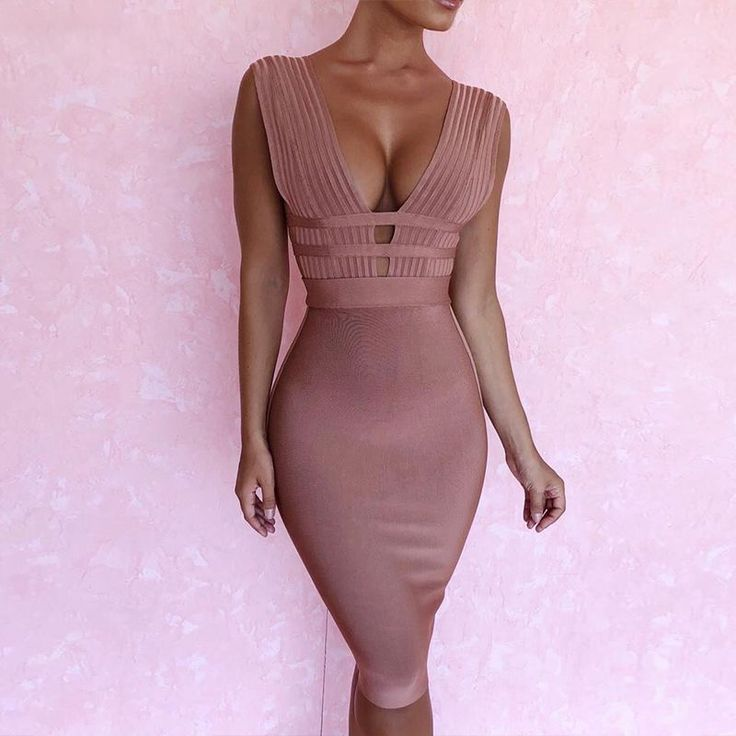 Light Pink Cut Out 2018 Sexy Women's tight deep v neck stretch erotic night club wear knee length HL bandage dress