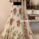 Lovely White Heavy Taffeta Silk With Mono Net Bridal Wear Lehenga Choli