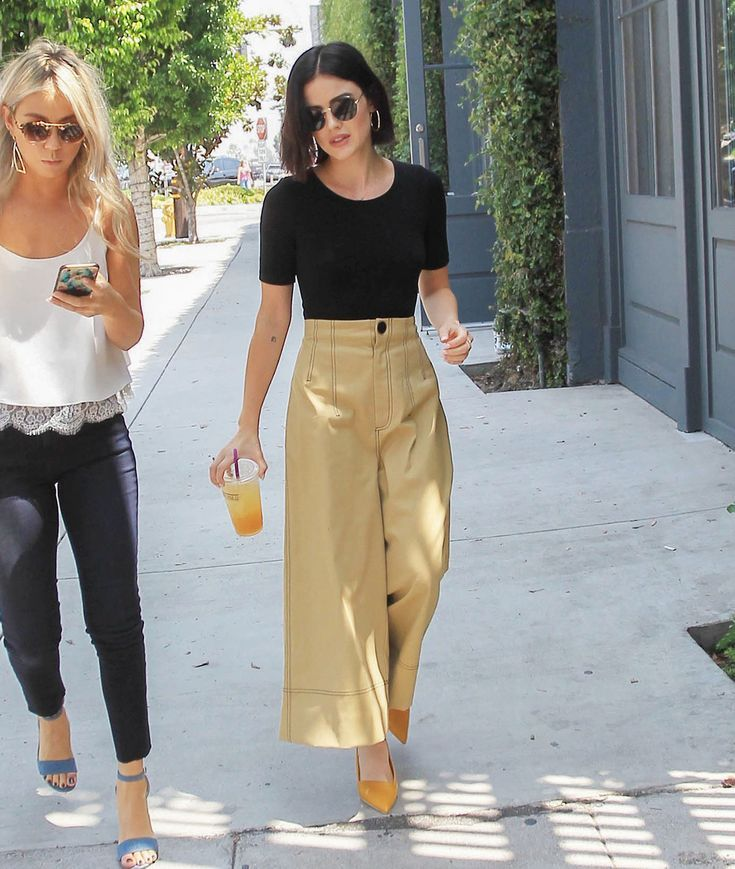 Lucy Hale's Wide Leg Crop Pants and Yellow Heels Look for Less