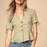 Lulus   Always Lovely Sage Green Polka Dot Button-Up Peplum Top   Size Small   100% Rayon