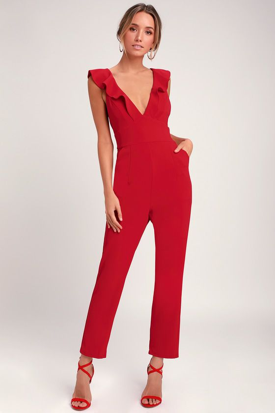 Lulus | Leilani Red Ruffled Jumpsuit | Size X-Small | 100% Polyester