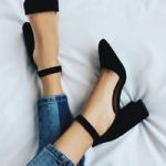Luna Black Suede Lace-up Heels
