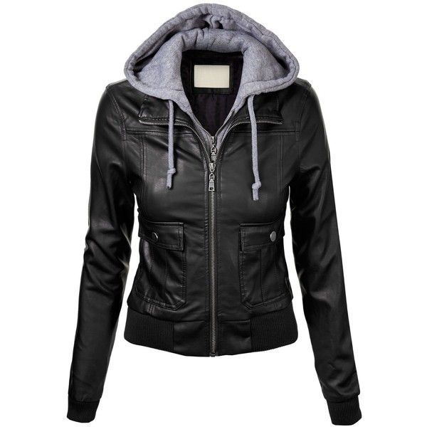 MBJ Womens Faux Leather Motorcycle Jacket With Hoodie found on Polyvore featurin…