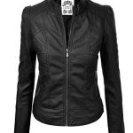MBJ Womens Vegan Leather Motorcycle Jacket M BLACK  Go to the website to read mo...