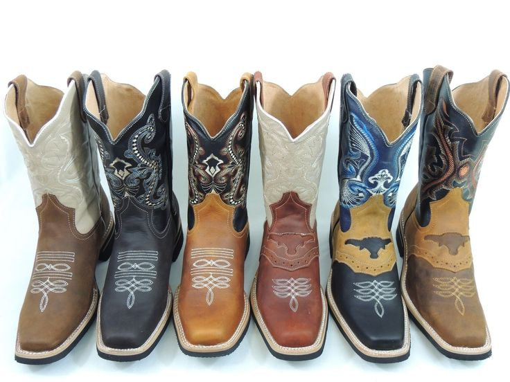 MENS RODEO COWBOY BOOTS GENUINE LEATHER WESTERN SQUARE TOE BOTAS SADDLE WORK – C…