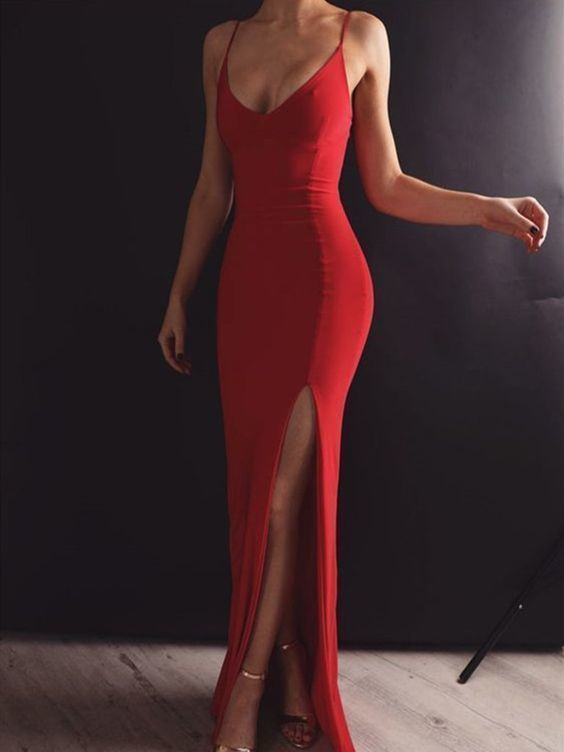 Made Red Mermaid Prom Dress with Leg Slit, Red Mermaid Formal Dresses Prom Dress Evening Dress with Open Back