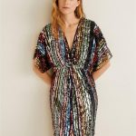 Mango Rainbow Sequin Dress - Multi