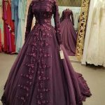 Medieval Princess Prom Ball Gown with Appliques Flowers Muslim Dress Party Evening Wear High Neck Long Sleeves Dubai Style Gowns
