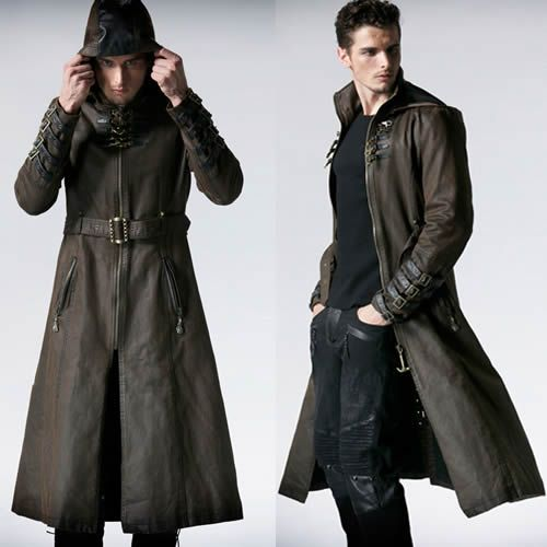 Men Brown Leather Hooded Steampunk Goth Military Trench Coat Overcoat SKU-114012…