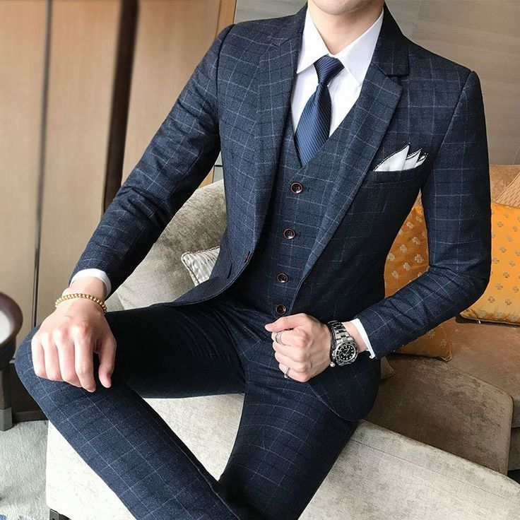 Men Wedding Dress Formal Wear Suits Blue Plaid Slim Suits Blazers Jackets+Vest+Pants Large Size New Male Single Breasted Suits