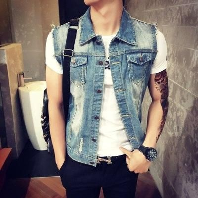 Mens Denim Vest 2018 New Brand Jeans Vests Men Slim Fit Sleeveless Jacket M-3XL size Patchwork Waistcoat Gliet Men 2 color