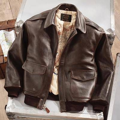 Men's leather A-2 flight jacket, 'Road to Victory'