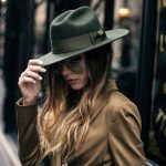 Menswear for women brixton fedora hat and mustard suit with aviator sunglasses o...