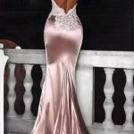Mermaid Spaghetti Straps Backless Long Pink Prom Dress with Appliques