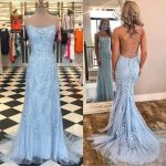 Modest Spaghetti Strap Sky Blue Mermaid Long Prom Dresses, Backless Pageant Formal Dress, PD1271