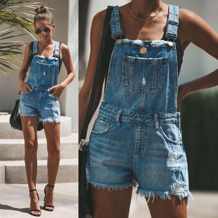 NEW//MUST HAVE OVERALLS Freedom Distressed Denim Overall Shorts $46 Sizes S – L …