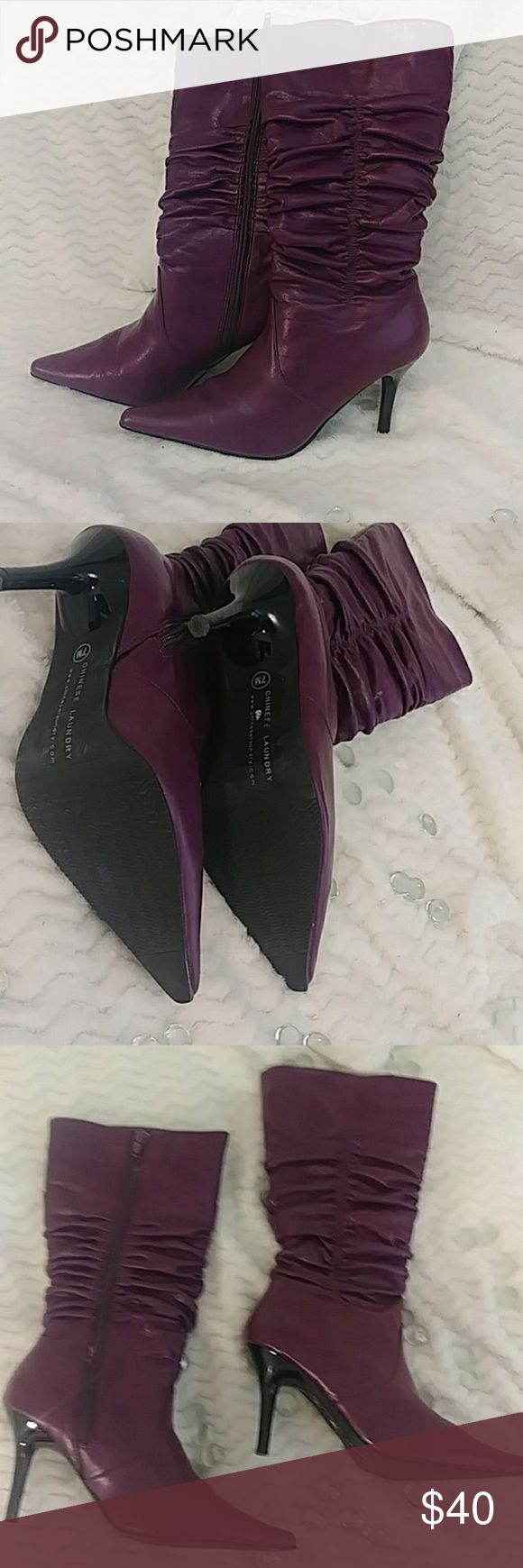 NWOT Plum Purple Chinese Laundry Boots Never worn pretty purple Chinese Laundry …