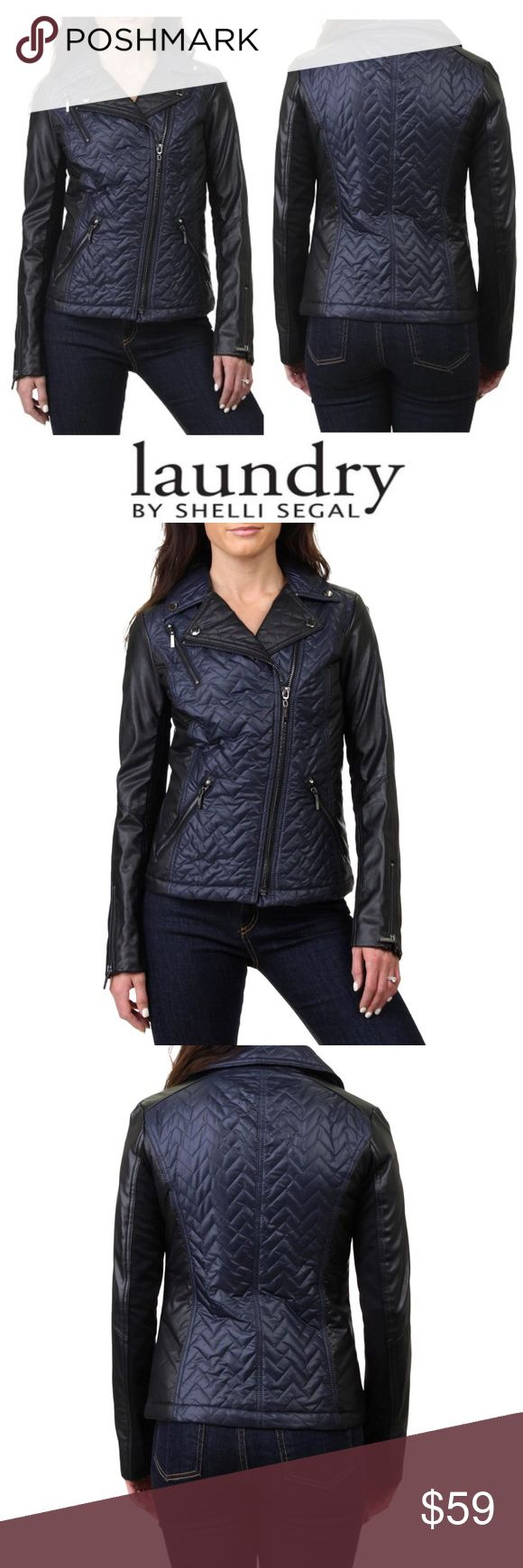 NWT LAUNDRY Quilted Faux Leather Motorcycle Jacket Manufacturer: Laundry by Shel…