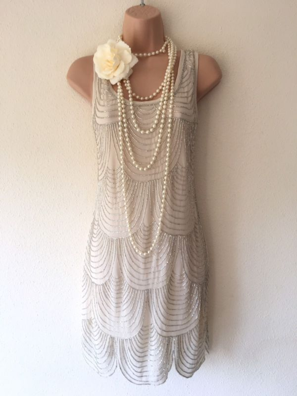 NWT Lace & Beads Embellished Gatsby 20s Beaded Flapper Dress M 10 Deco