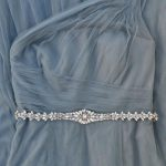 Narrow Bridal Belt Rose Gold with clasp- All the Way Around Thin Rhinestone Bridal Belt Hook- Champa