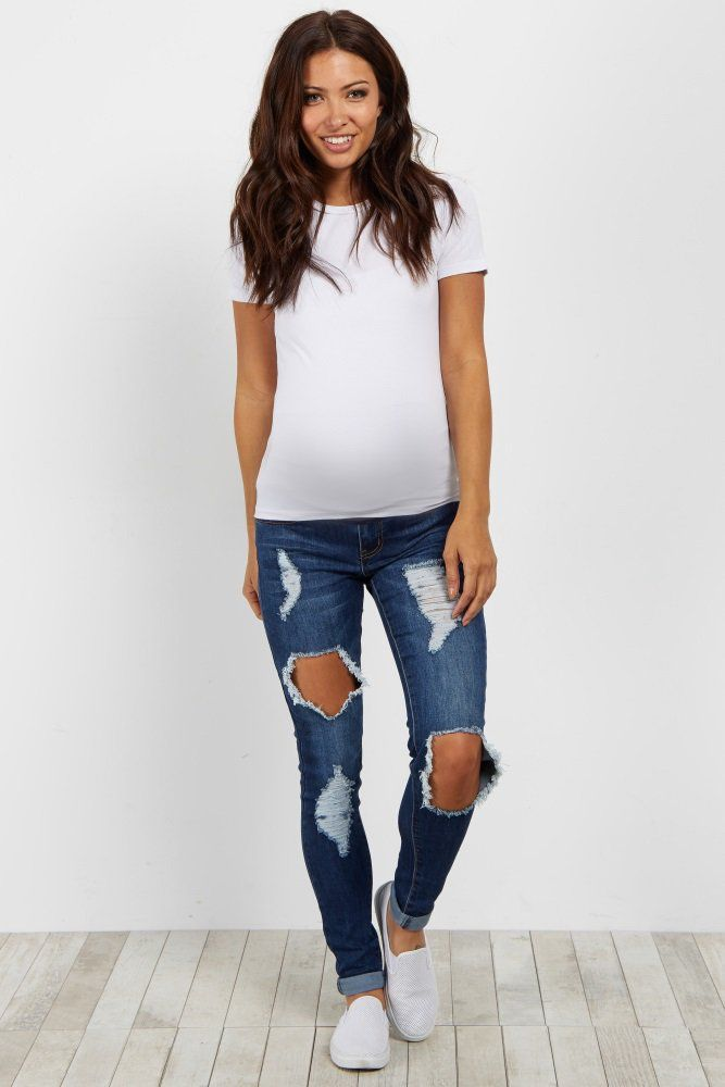 Navy Destroyed Convertible Maternity Jean