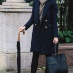 Navy coat + grey cashmere sweater