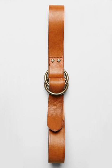 O-Ring Wide Leather Belt – Tan Bridle