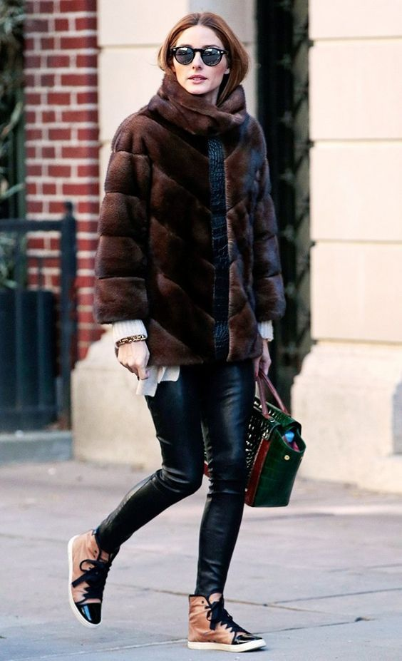 Olivia Palermo in Fur coat and lanvin sneakers