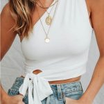 One Shoulder Tied Sleeveless Sexy Crop Top #059117 @ Sexy Crop Tops,Cropped Tops...