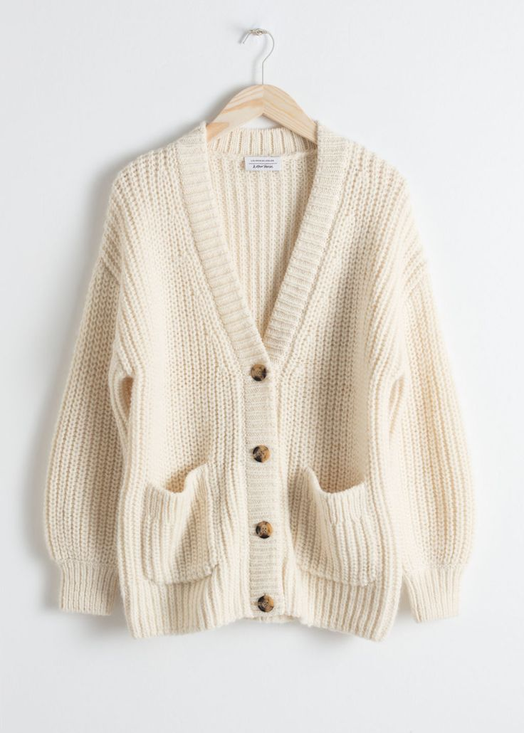 Oversized Rib Knit Cardigan – Cream – Cardigans – & Other Stories