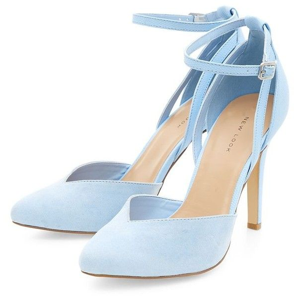 Pale Blue Ankle Strap Pointed Heels (81 PEN) ❤ liked on Polyvore featuring sho…