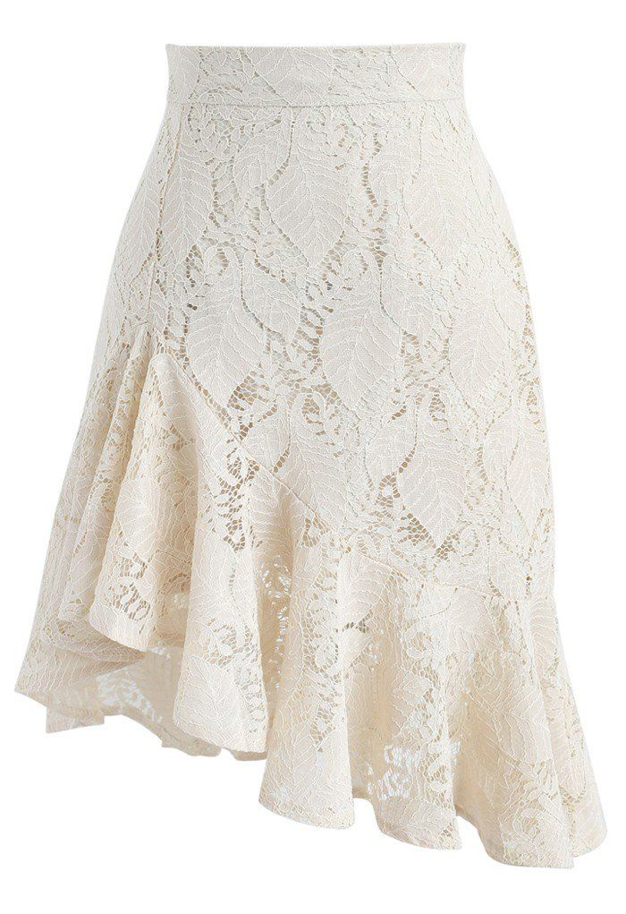 Paradisiacal Asymmetric Frill Hem Lace Skirt in Ivory beige S