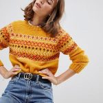 People Tree Hand Knitted Sweater In Fair isle Knit