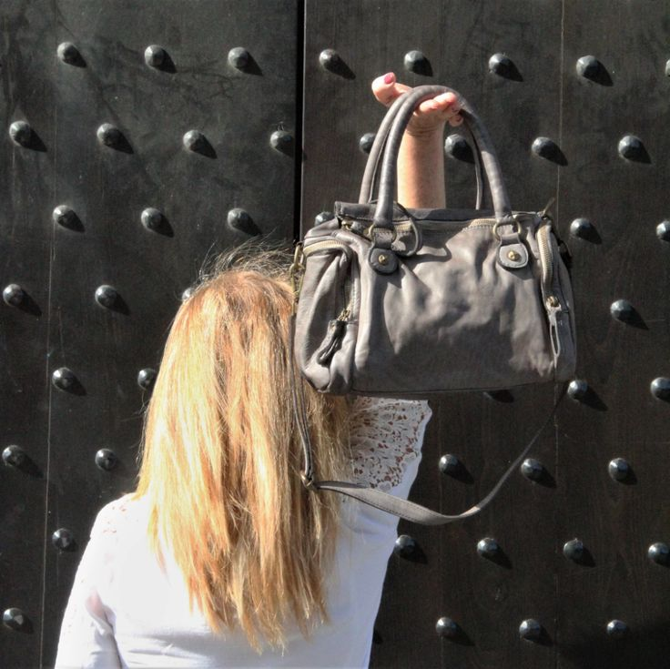 Pienza Gray Washed Italian Leather Handbag – FLORENCE TOUCH