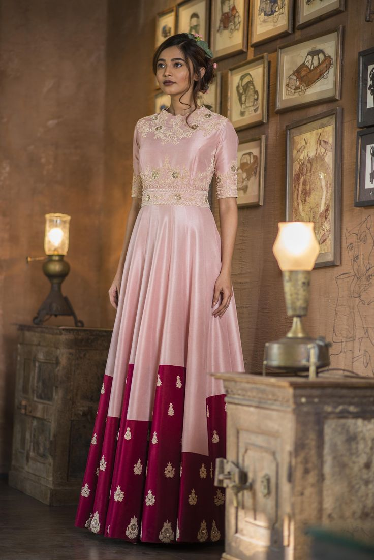 Pink & Maroon Printed Embroidered Gown