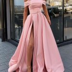 Pink Off Shoulder Satin Long Prom Dresses With High Slit, Pink Formal Dresses, Evening Dresses H2965