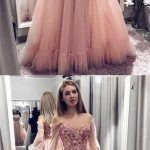Pink Off The Shoulder Long Sleeve Long Cheap Tulle Prom Dresses With Applique, QB0611