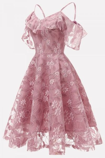 Pink, Ruffles Lace ,Cold Shoulder Chic, A Line Prom Dress,Homecoming dresses from HotProm