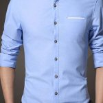 Plain Stand Collar Autumn Men's Shirt#Men's Shirt