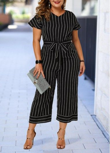 Plus Size Jumpsuits Plus Size Belted Short Sleeve Striped Jumpsuit