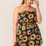 Plus Sunflower Print Shirred Waist Tube Romper