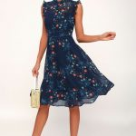 Porch Swing Navy Blue Floral Print Skater Dress