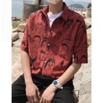 Privathinker Summer Mens Shirts Figure Print Half Sleeve Hawaiian Shirts Men Clothingliligla