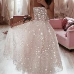 Prom Dress Ball Gown, A Line Spaghetti Straps Tea Length Pearl Pink Prom Wedding Dress With Beading