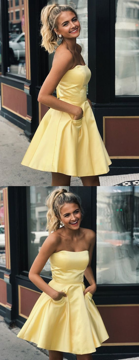 Prom Dresses Ball Gown, Cute Yellow Satin Strapless Short Prom Dresses with Pockets, Yellow Homecoming Dresses, Graduation Dresses, Simple Evening Dresses