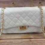 Quilted Italian White Leather Handbag Quilted  Borse in Pelle italian leather ha...