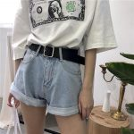 ROLLED-UP WIDE LEG HIGH WAIST DENIM SHORTS Trendy Aesthetic Clothes and Grunge T...