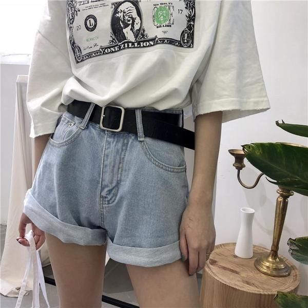 ROLLED-UP WIDE LEG HIGH WAIST DENIM SHORTS Trendy Aesthetic Clothes and Grunge T…