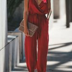 Red Spaghetti Straps Tied Wrap Slit Hem y Jumpsuit