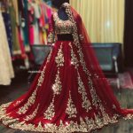 Red silver embroidered bridal lehenga